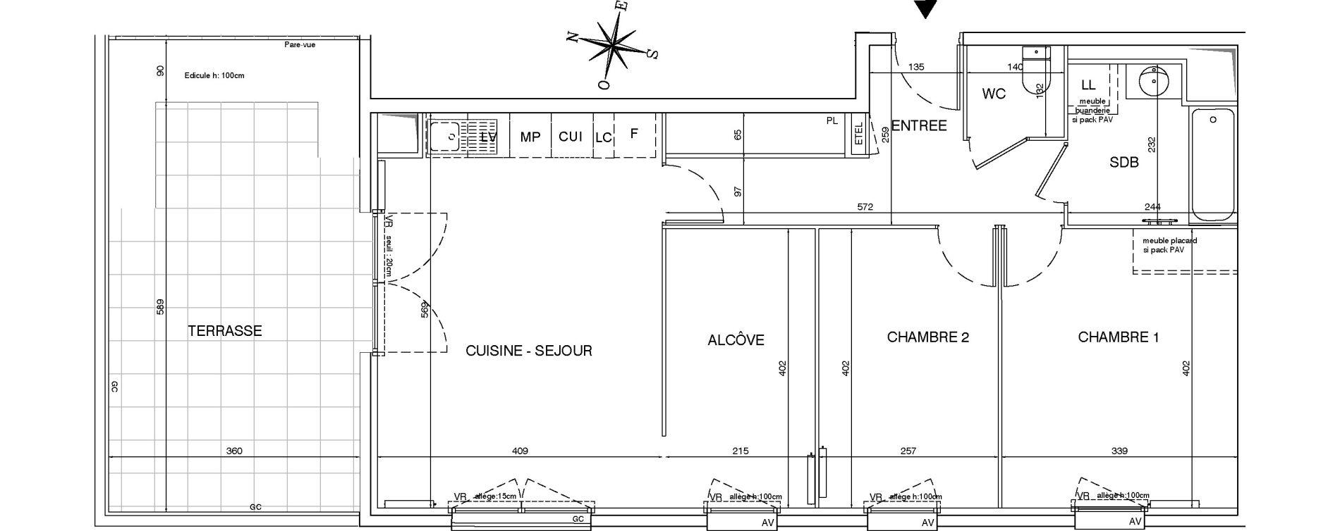 Appartement T3 de 72,20 m2 aux Pavillons-Sous-Bois Centre