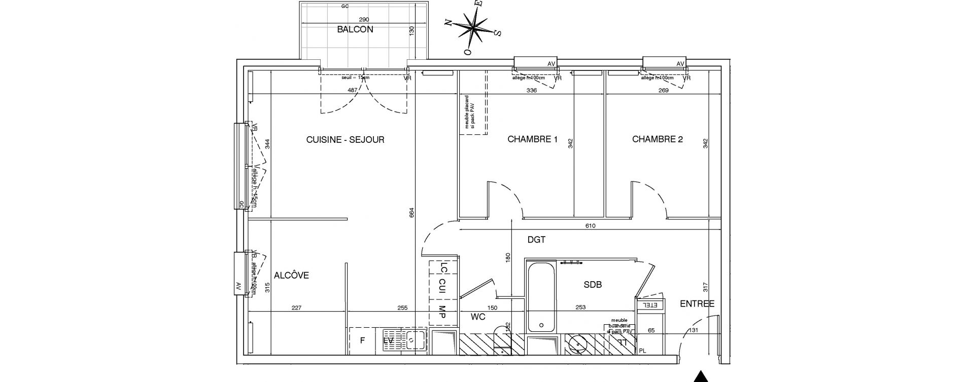 Appartement T3 de 70,58 m2 aux Pavillons-Sous-Bois Centre
