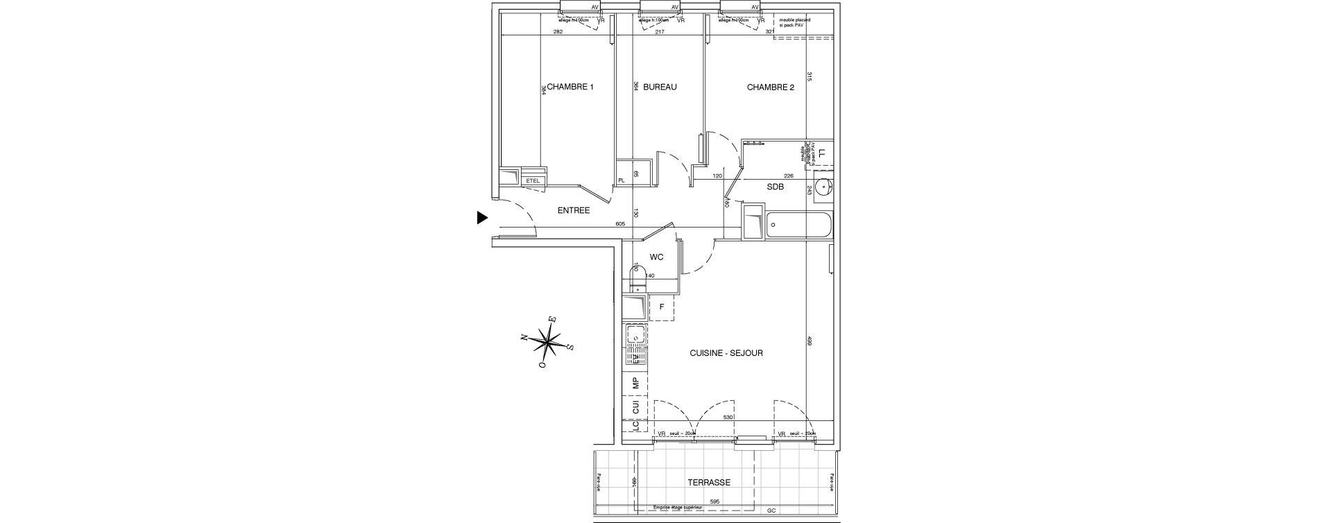 Appartement T3 de 70,51 m2 aux Pavillons-Sous-Bois Centre