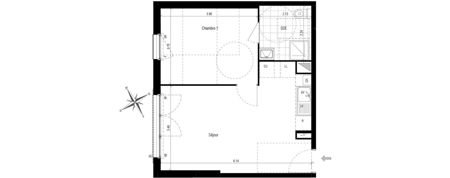 appartement t2 les pavillons sous bois n 192 o. Black Bedroom Furniture Sets. Home Design Ideas