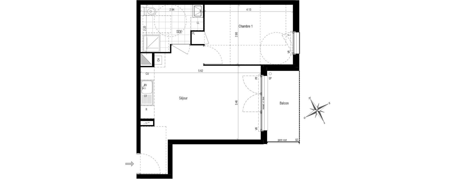 appartement t2 les pavillons sous bois n 393 e. Black Bedroom Furniture Sets. Home Design Ideas