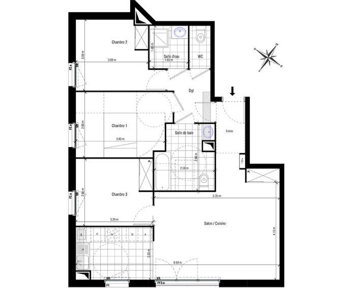 Plan T4 neuf aux Pavillons-sous-Bois de