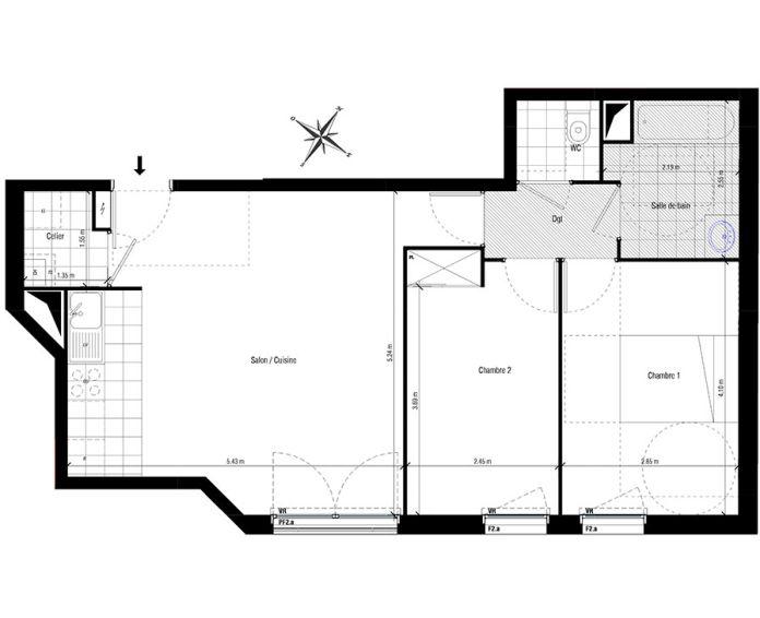 Plan T3 neuf aux Pavillons-sous-Bois de
