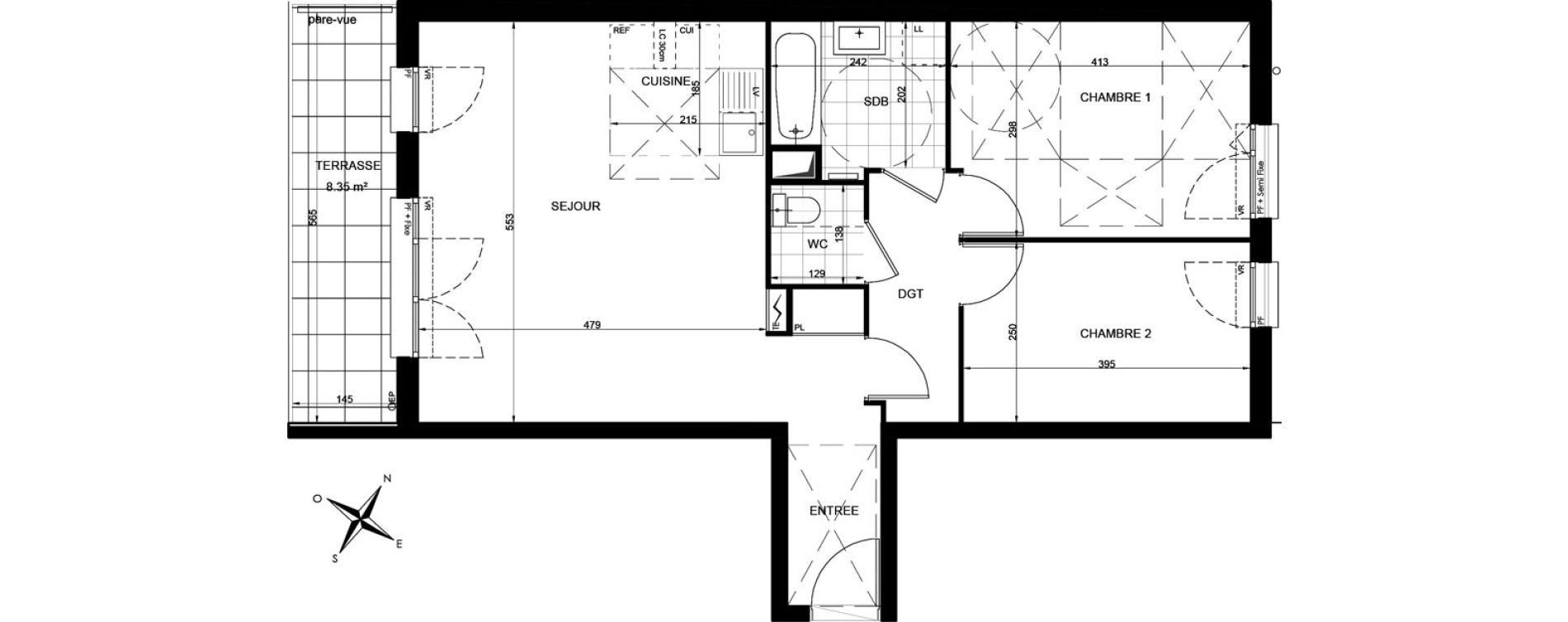 Appartement T3 de 64,93 m2 à Livry-Gargan Centre