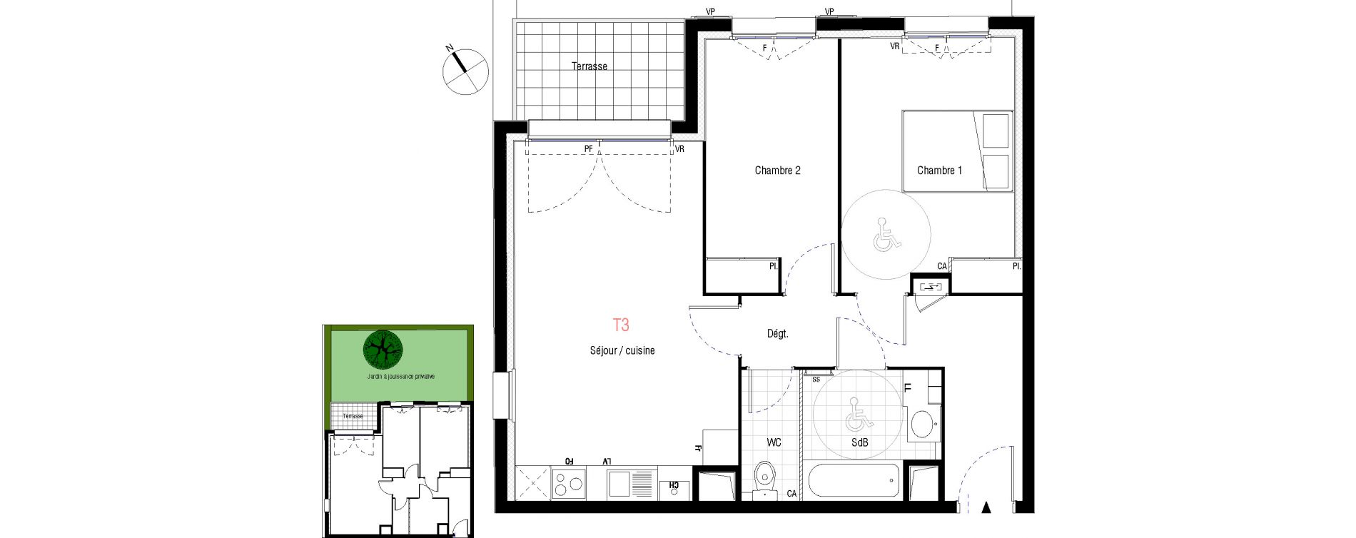 Appartement T3 de 58,71 m2 à Livry-Gargan L'abbaye