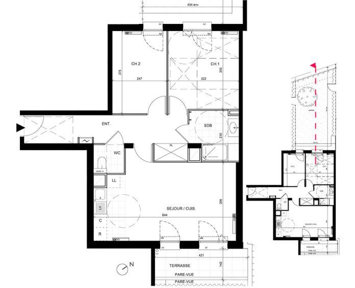 Appartement t3 livry gargan n 239 sud est for Achat maison essonne