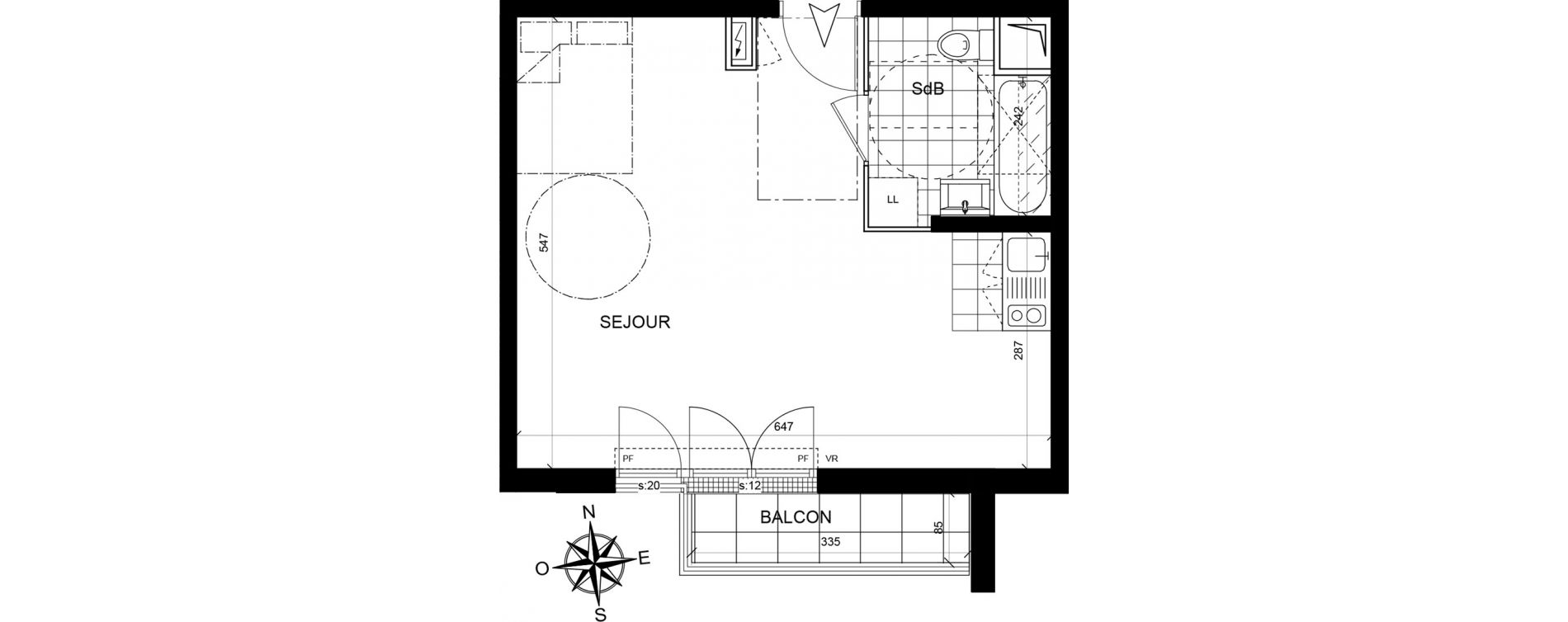 Studio de 34,21 m2 à Livry-Gargan Centre