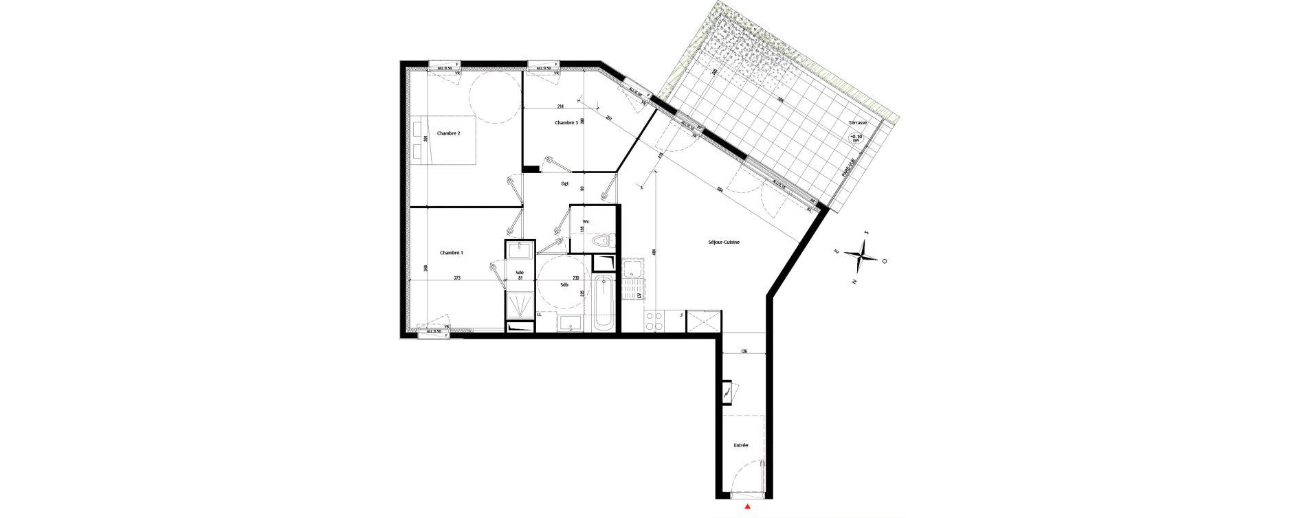 Appartement T4 de 75,26 m2 à Montfermeil Les coudreaux