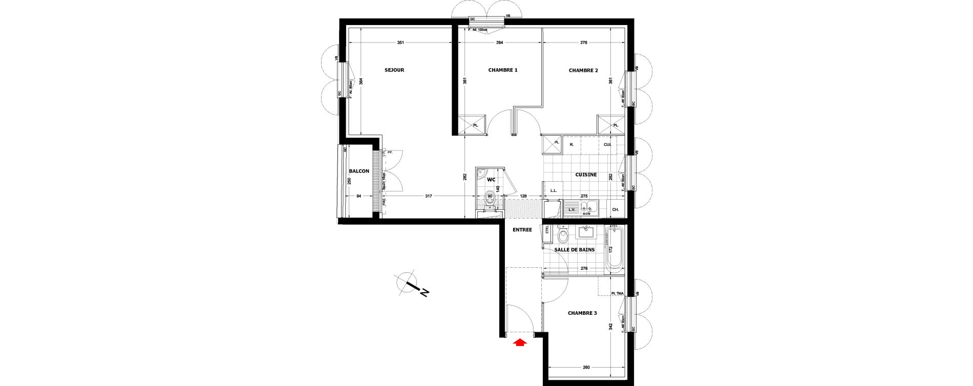 Appartement T4 de 73,83 m2 à Montfermeil Centre