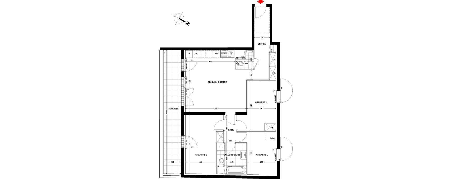 Appartement T4 de 79,37 m2 à Montfermeil Centre