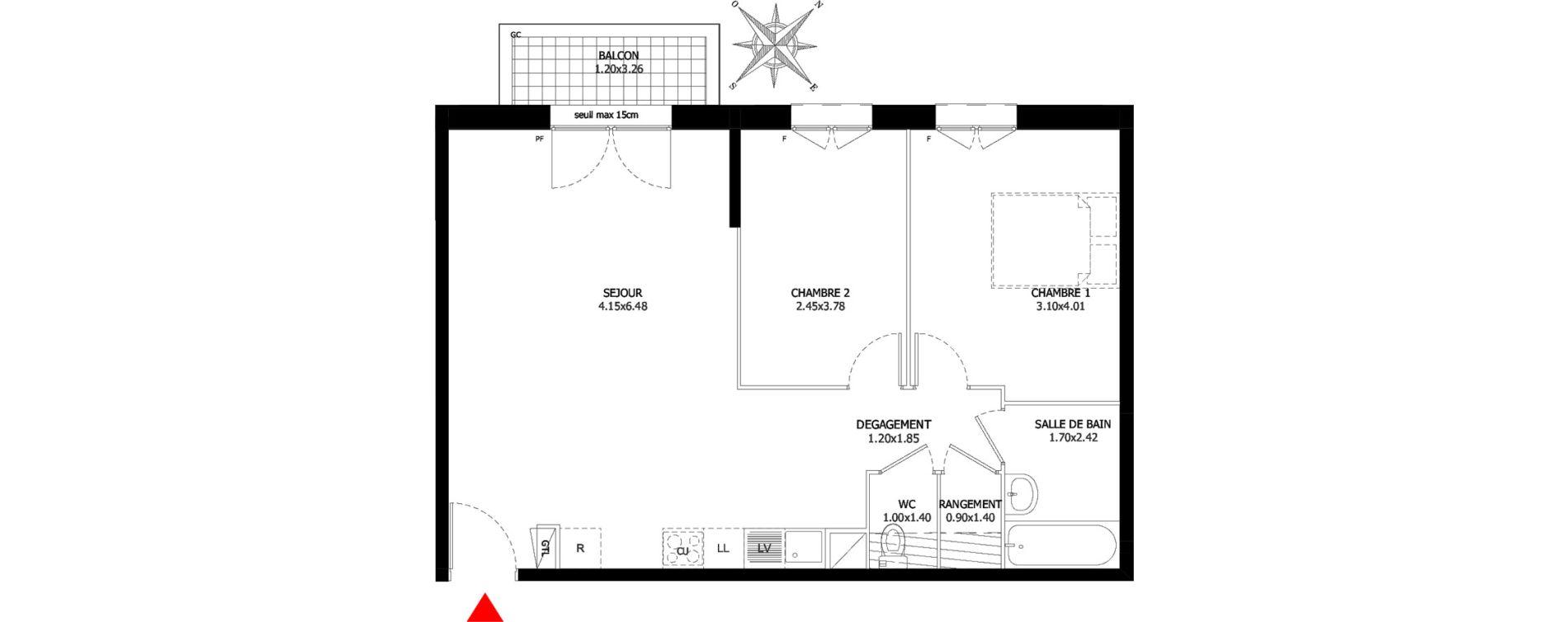 Appartement T3 de 63,20 m2 à Sevran Centre