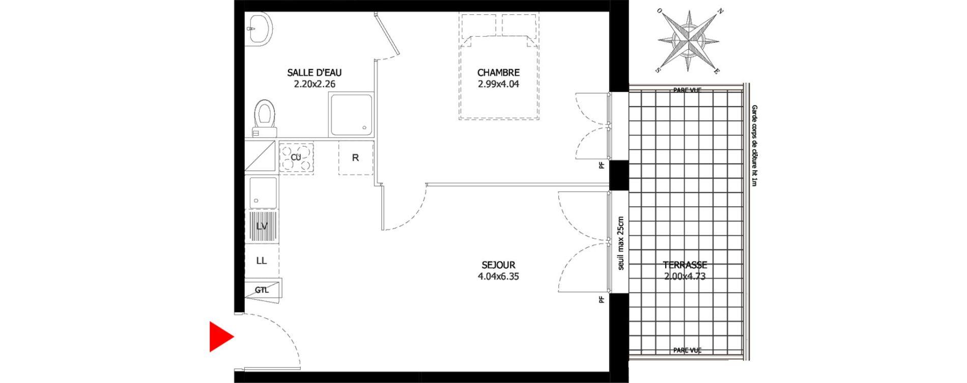 Appartement T2 de 38,93 m2 à Sevran Centre