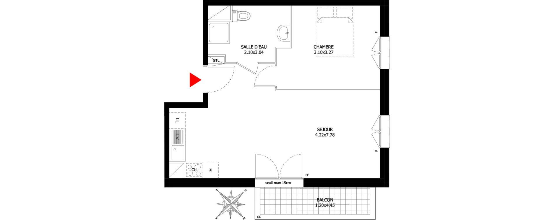 Appartement T2 de 42,58 m2 à Sevran Centre