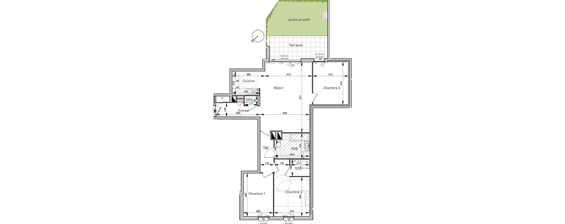 Appartement T4 de 86,84 m2 à Villepinte Vert galant