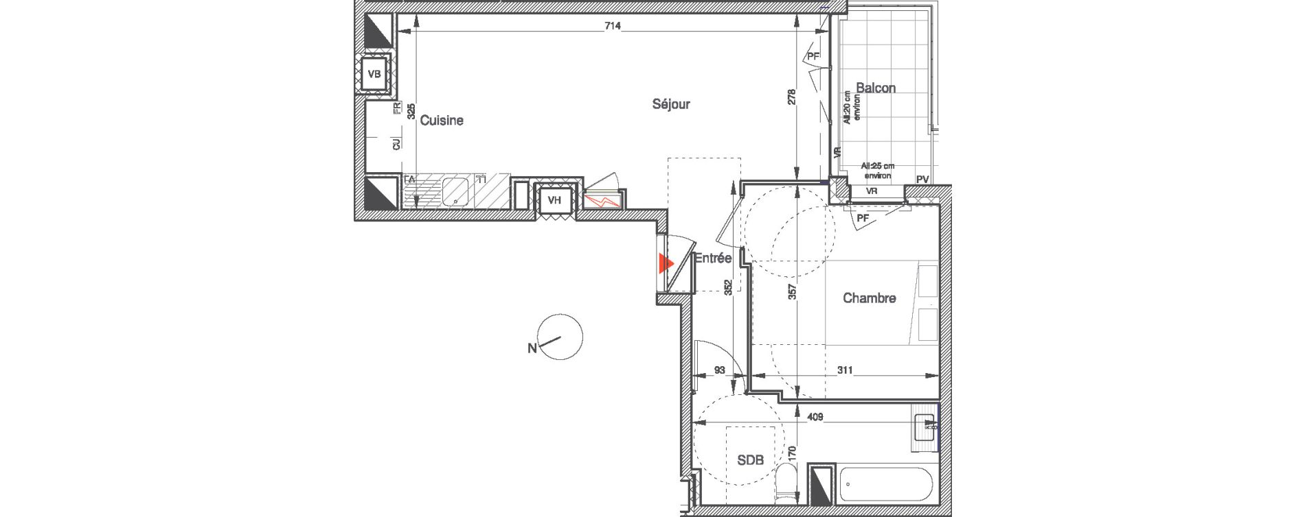 Appartement T2 de 42,79 m2 à Villepinte Vert galant