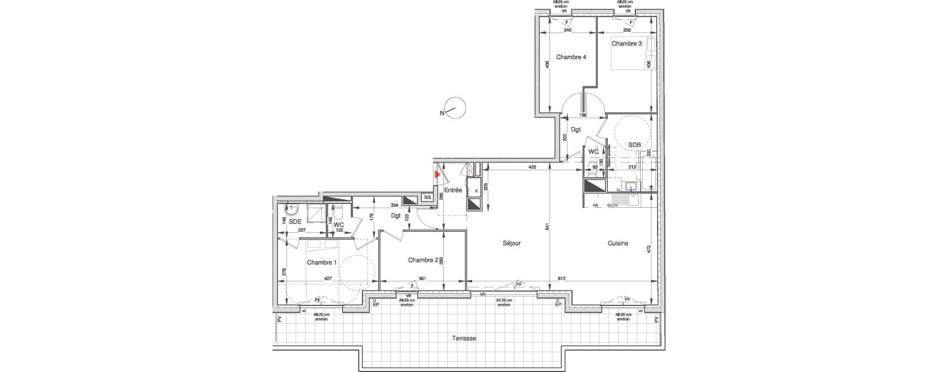 Appartement T5 de 105,47 m2 à Villepinte Vert galant