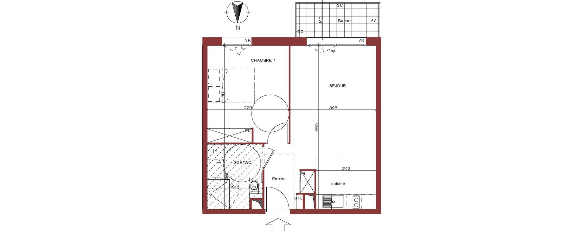 Appartement T2 meublé de 43,46 m2 à Villepinte La pépinière