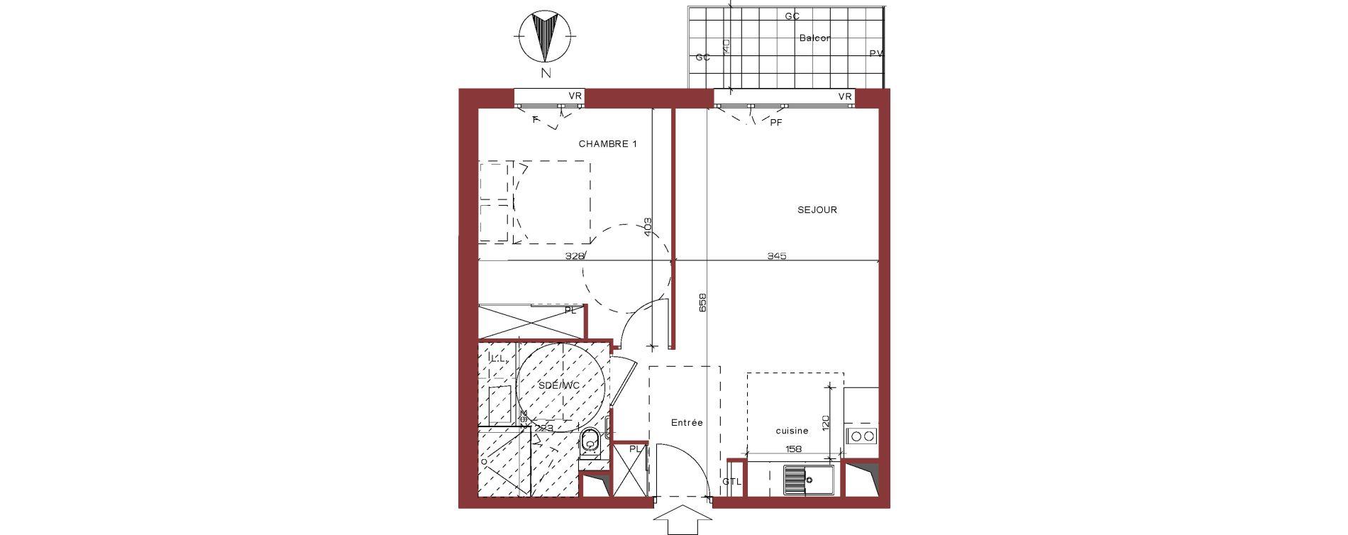 Appartement T2 meublé de 44,35 m2 à Villepinte La pépinière