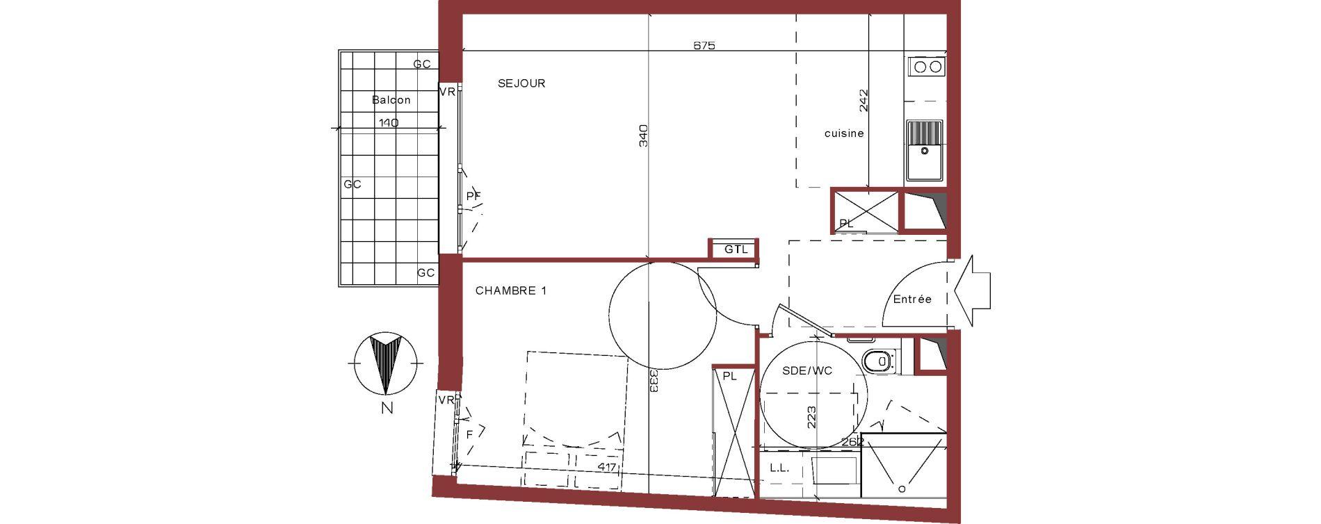 Appartement T2 meublé de 44,21 m2 à Villepinte La pépinière
