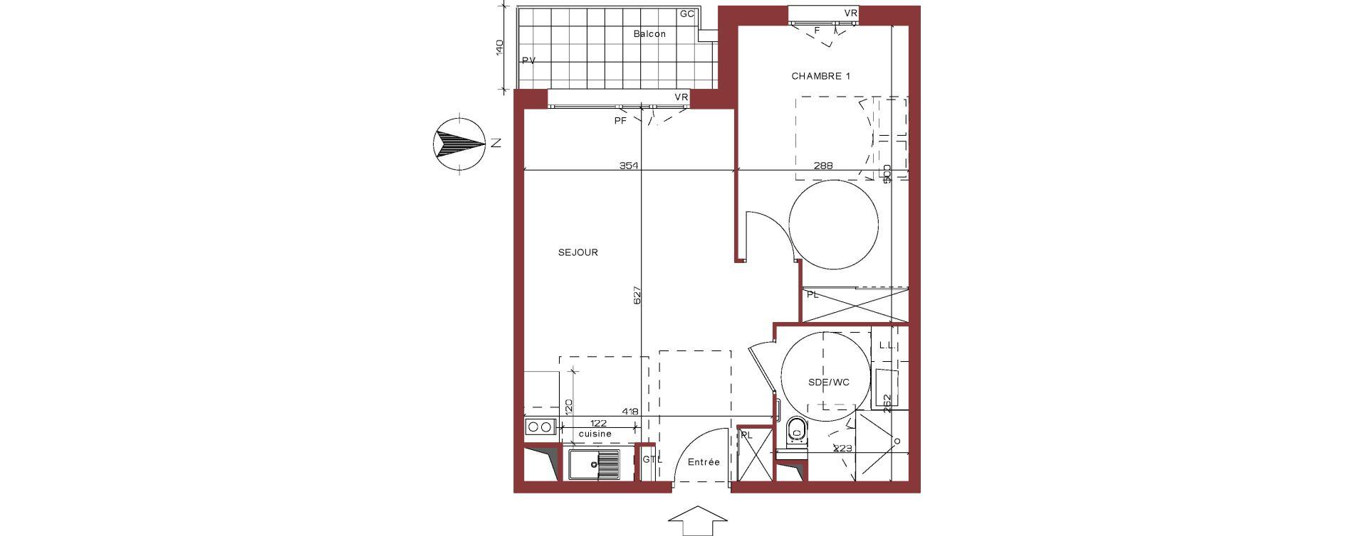 Appartement T2 meublé de 43,39 m2 à Villepinte La pépinière