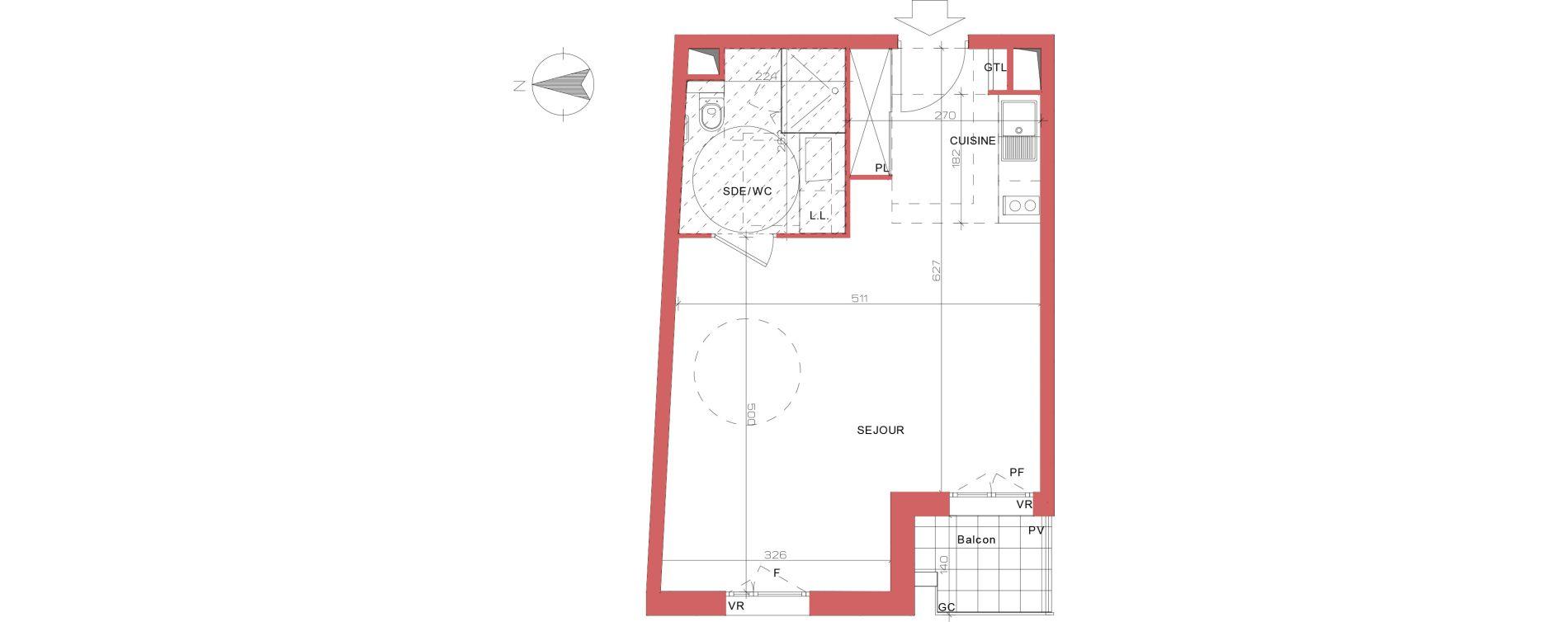 Appartement T1 meublé de 35,75 m2 à Villepinte La pépinière