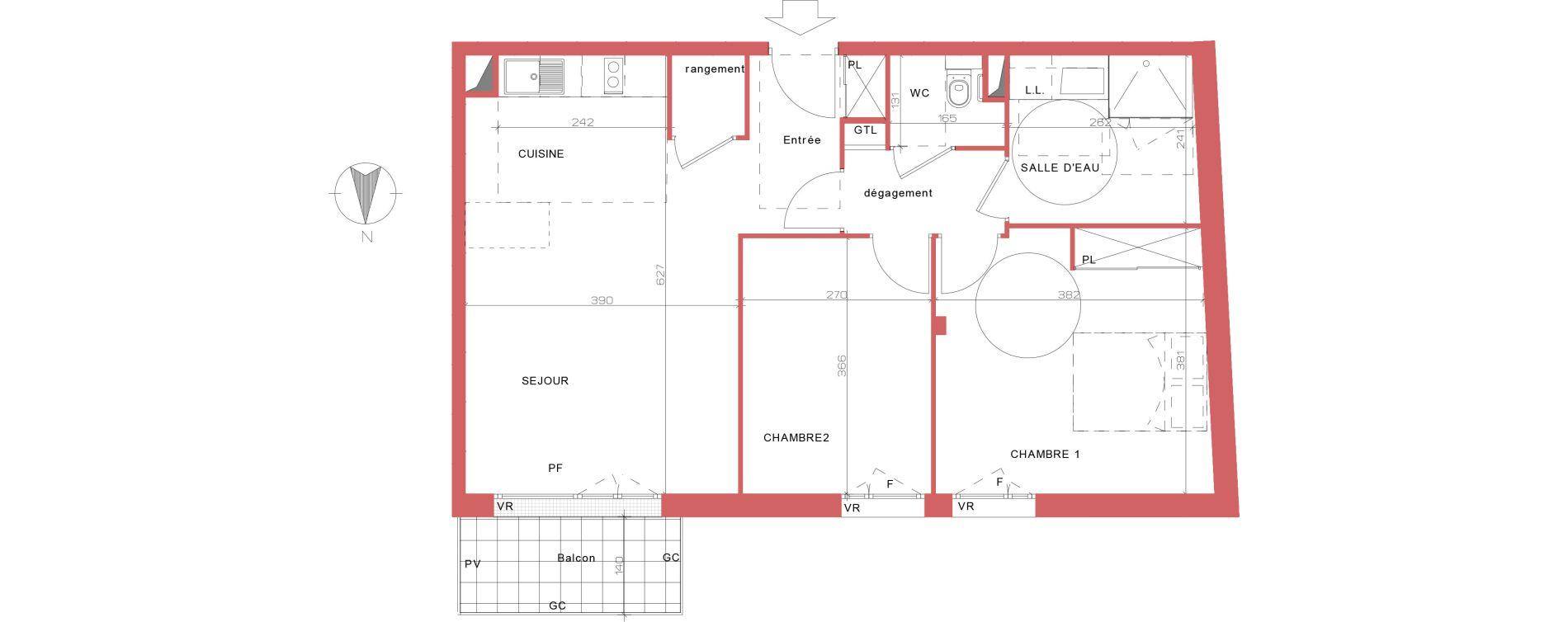 Appartement T3 meublé de 64,28 m2 à Villepinte La pépinière