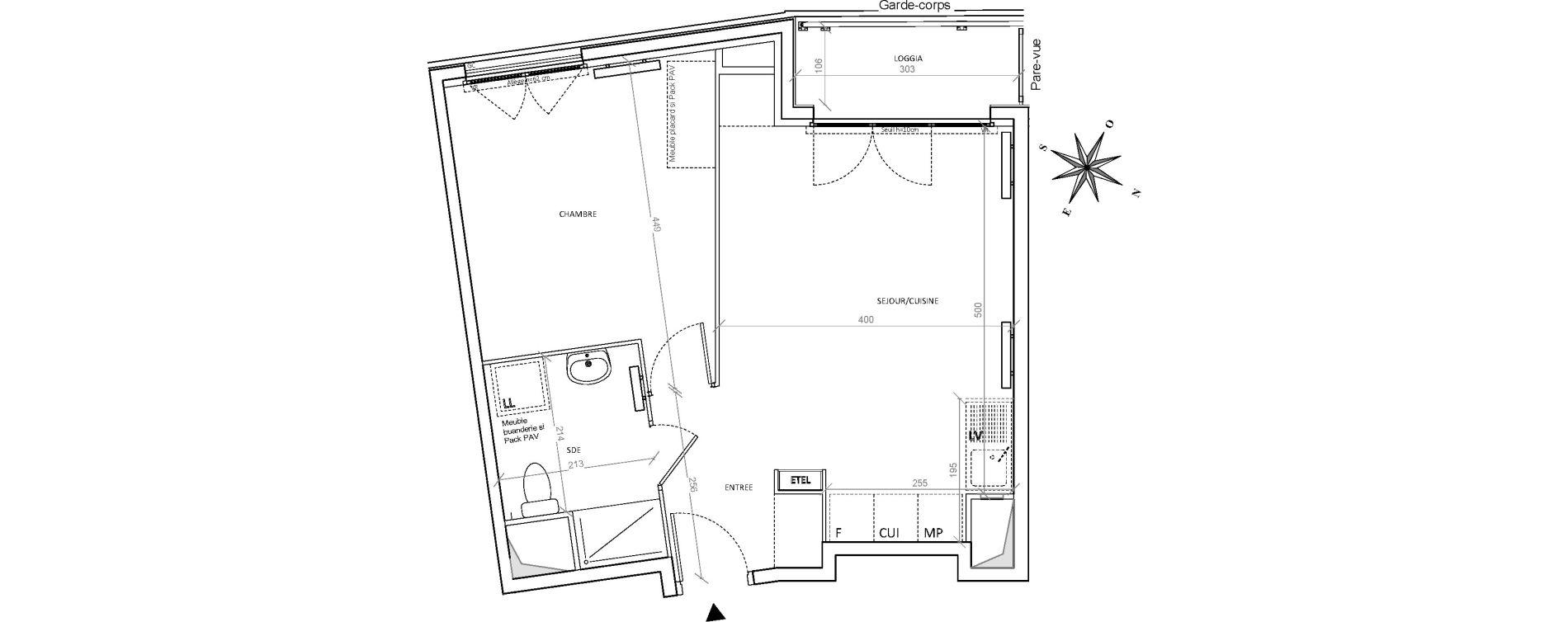 Appartement T2 de 44,37 m2 à Villepinte Hopital