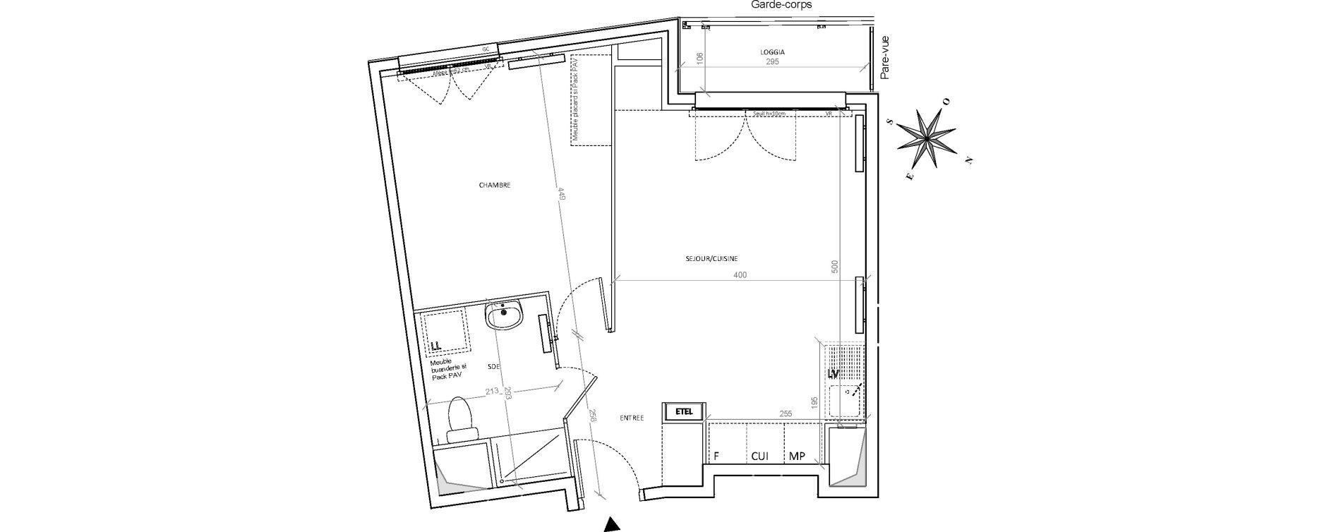 Appartement T2 de 44,38 m2 à Villepinte Hopital