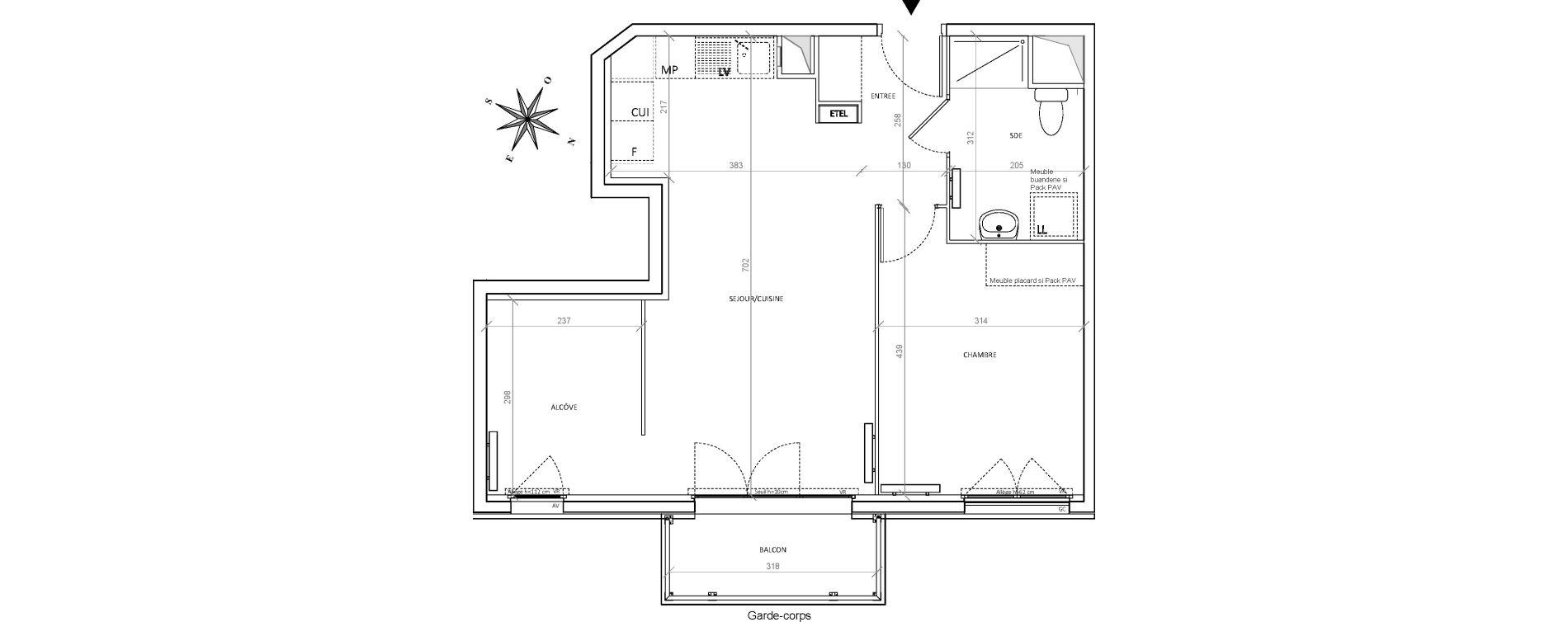 Appartement T2 de 52,84 m2 à Villepinte Hopital