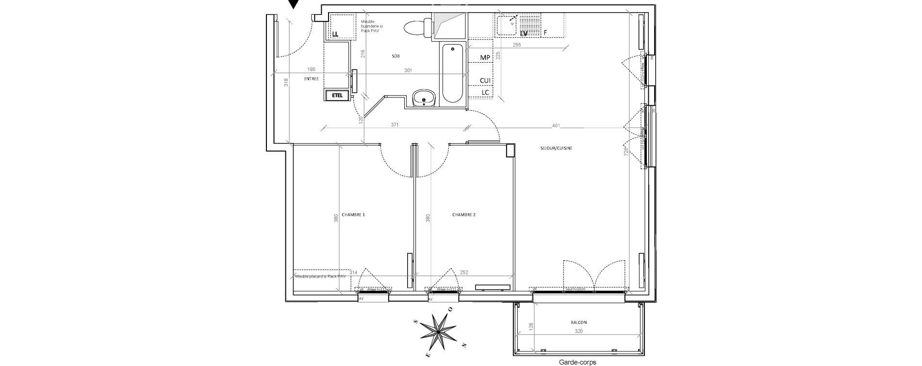 Appartement T3 de 66,02 m2 à Villepinte Hopital