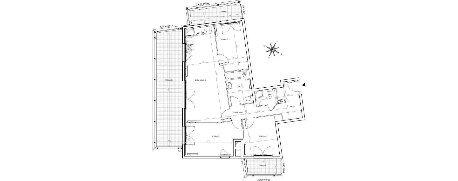 Appartement T4 de 79,52 m2 à Villepinte Hopital