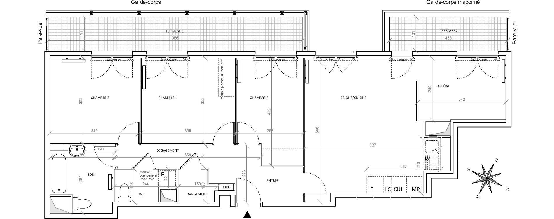 Appartement T4 de 86,45 m2 à Villepinte Hopital