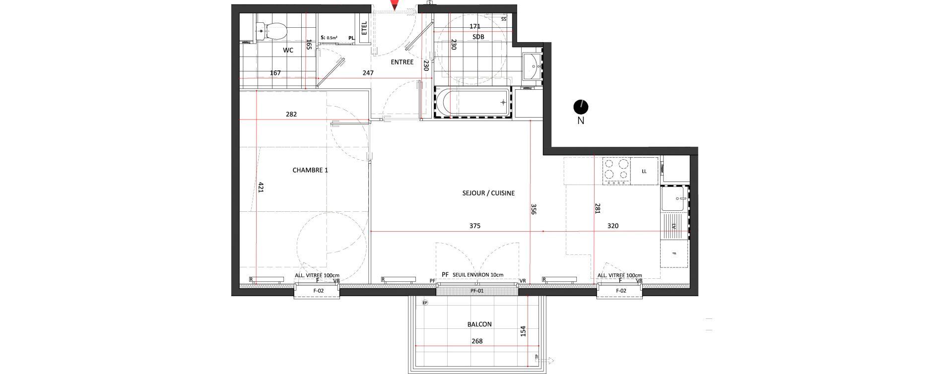Appartement T2 de 45,50 m2 à Villepinte La pépinière