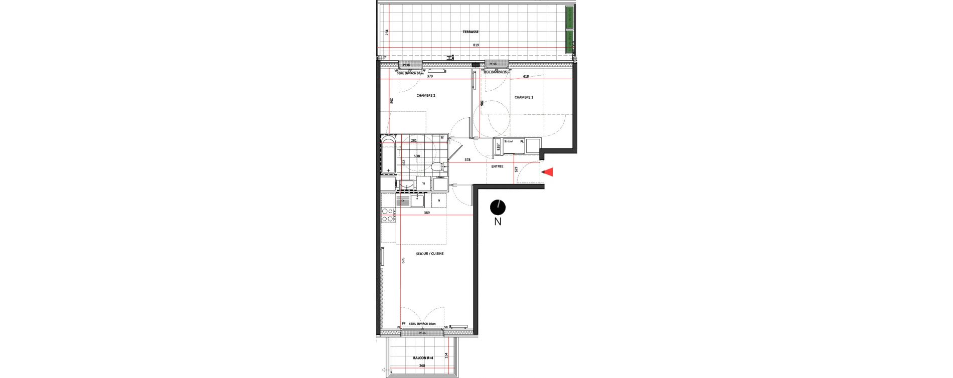 Appartement T3 de 57,32 m2 à Villepinte La pépinière
