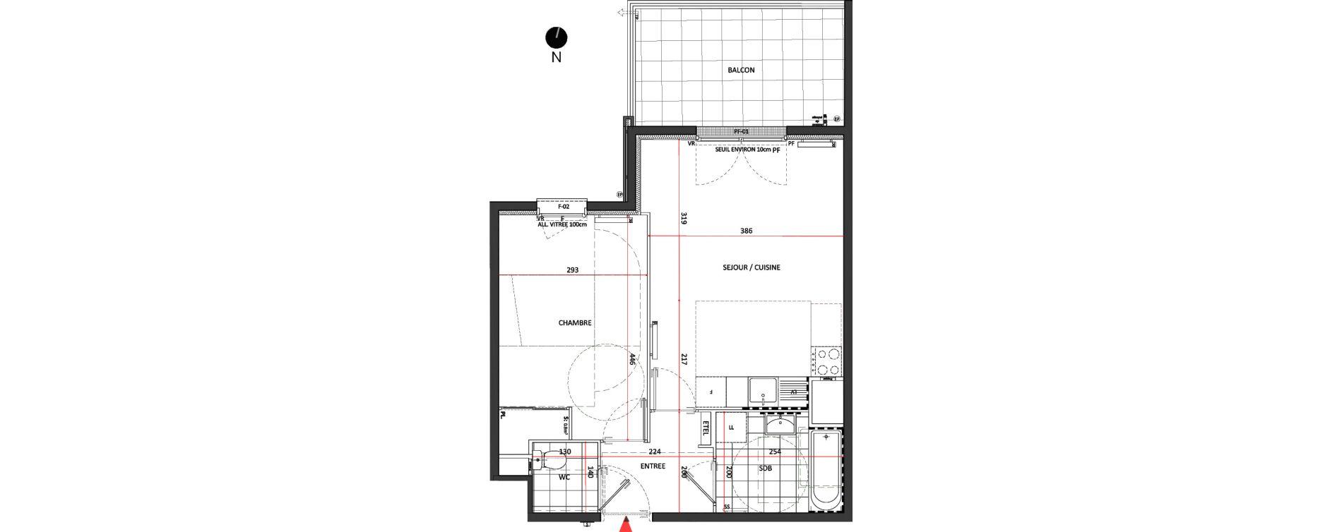 Appartement T2 de 44,08 m2 à Villepinte La pépinière