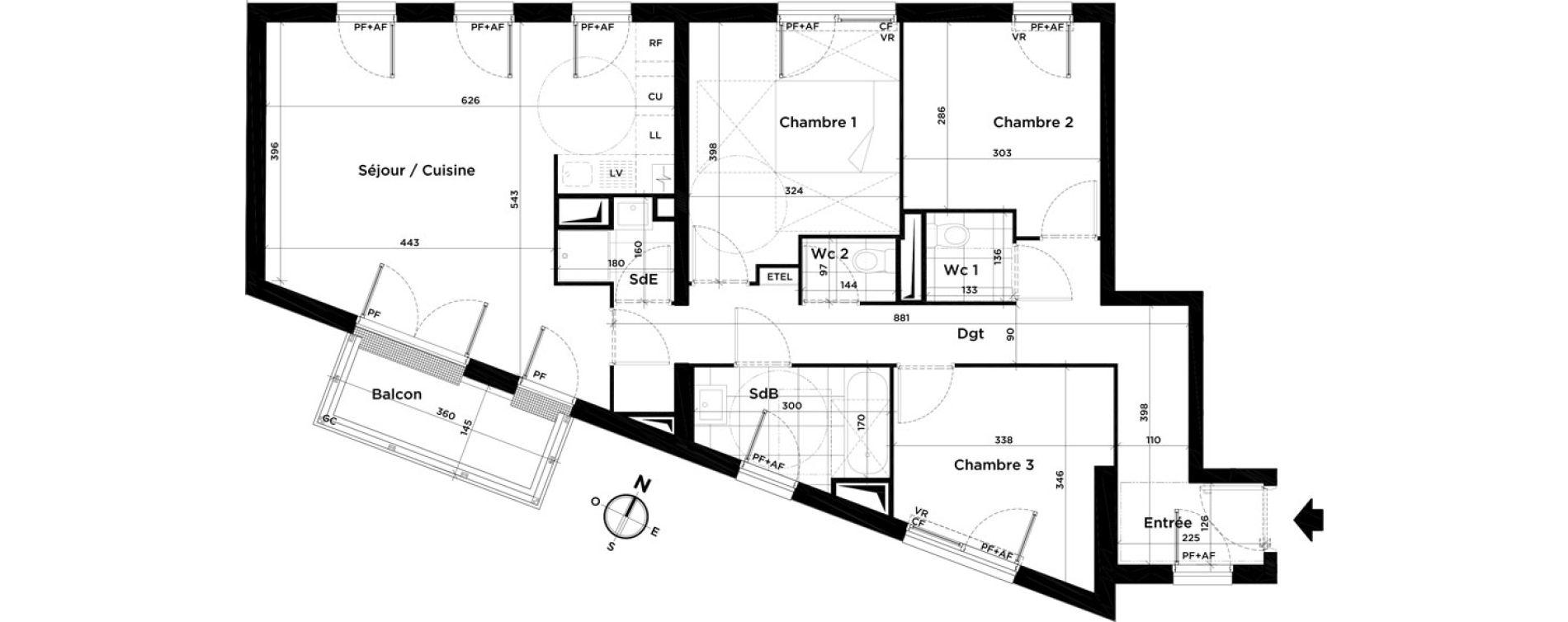 Appartement T4 de 83,21 m2 à Villepinte Centre