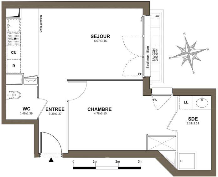 Plan T2 neuf à Fresnes de