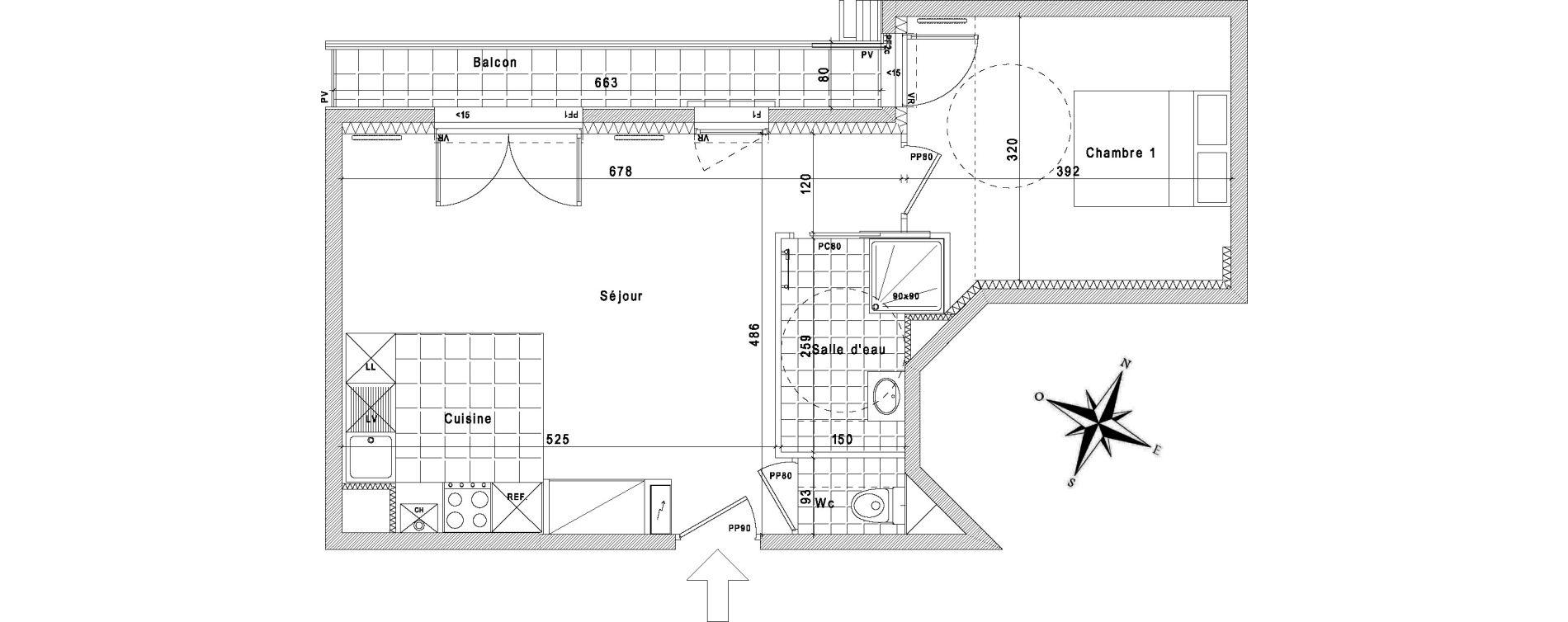 Appartement T2 de 45,11 m2 à La Queue-En-Brie Centre