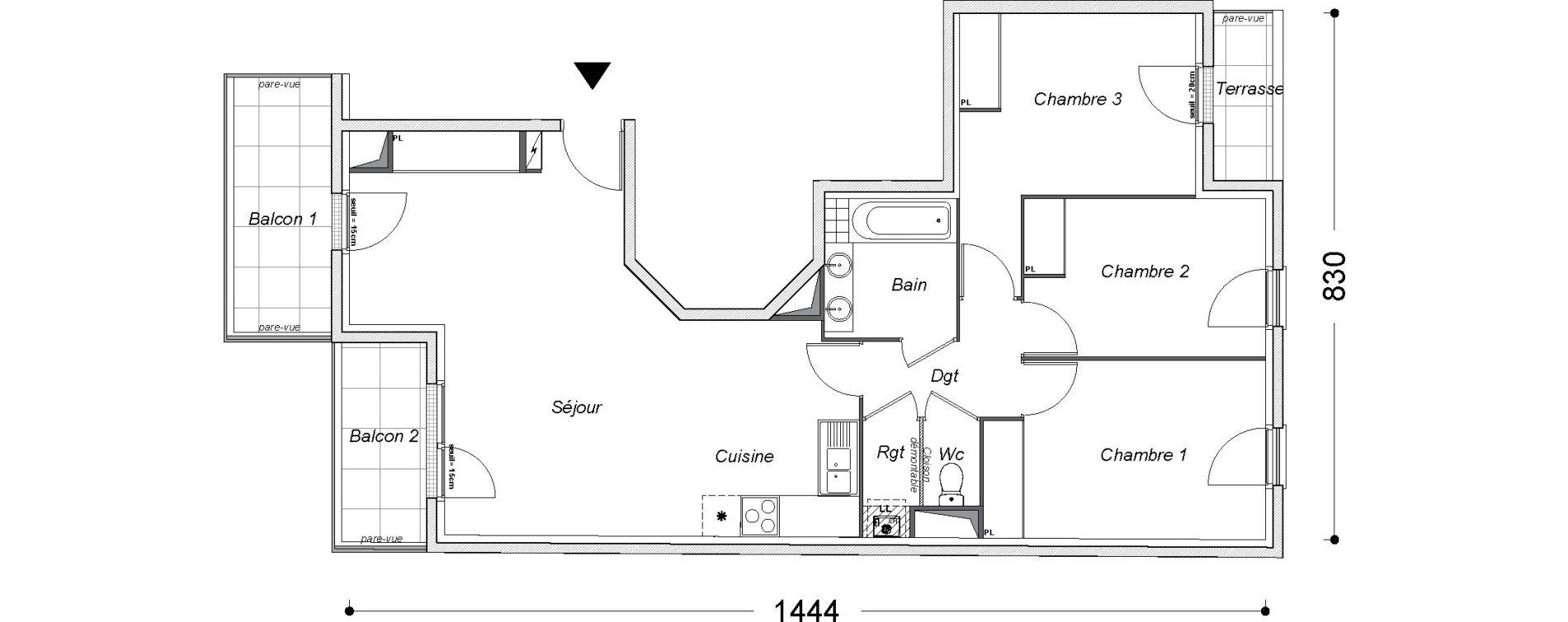 Appartement T4 de 79,40 m2 au Perreux-Sur-Marne Centre