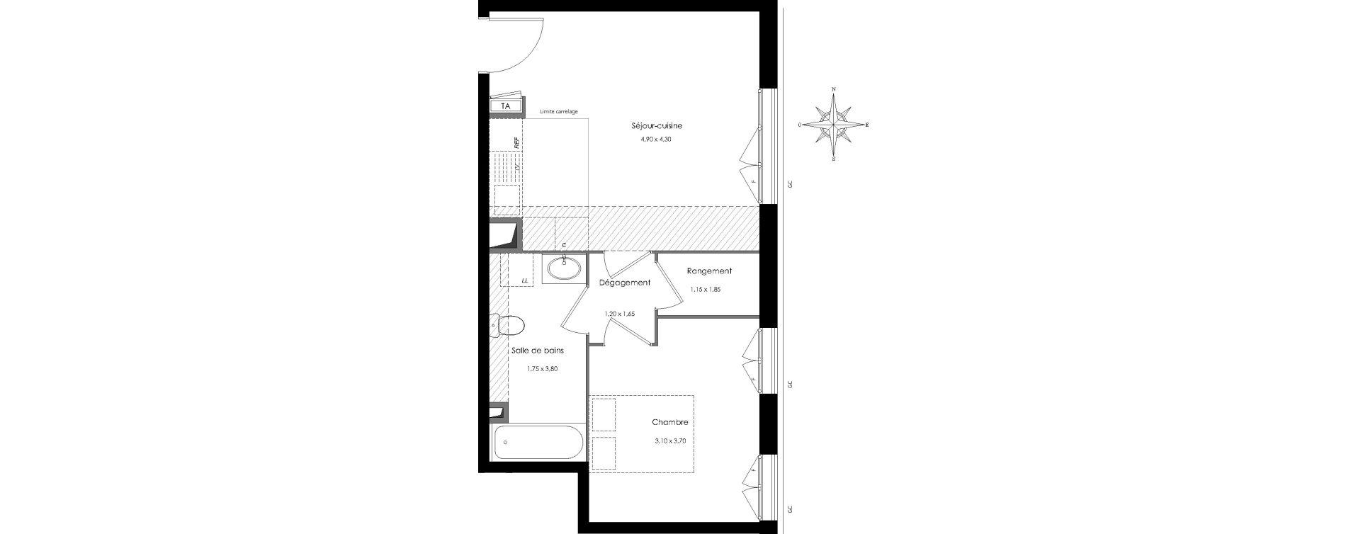 Appartement T2 de 42,11 m2 au Perreux-Sur-Marne Centre