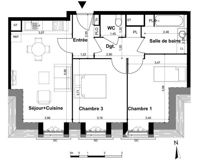 Plan T3 neuf au Plessis-Trévise de