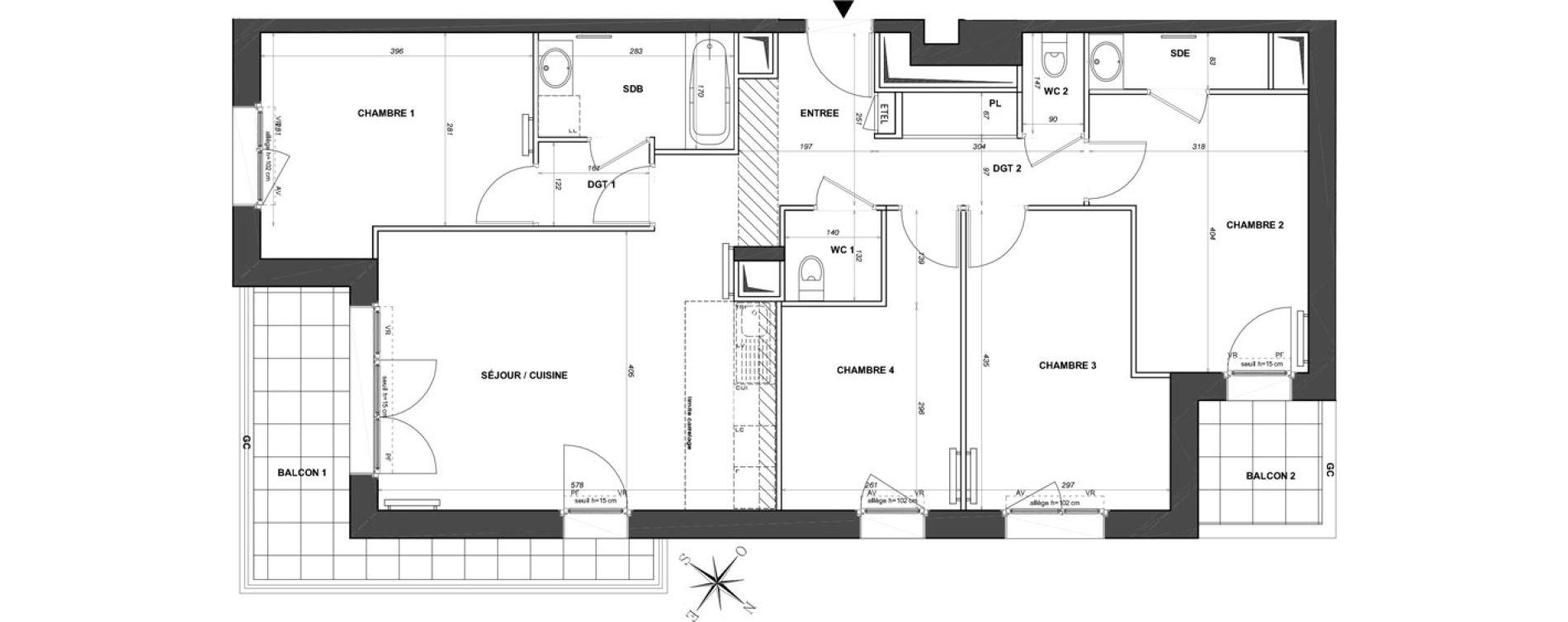 Appartement T5 de 88,76 m2 à Saint-Maur-Des-Fossés La varenne saint hilaire