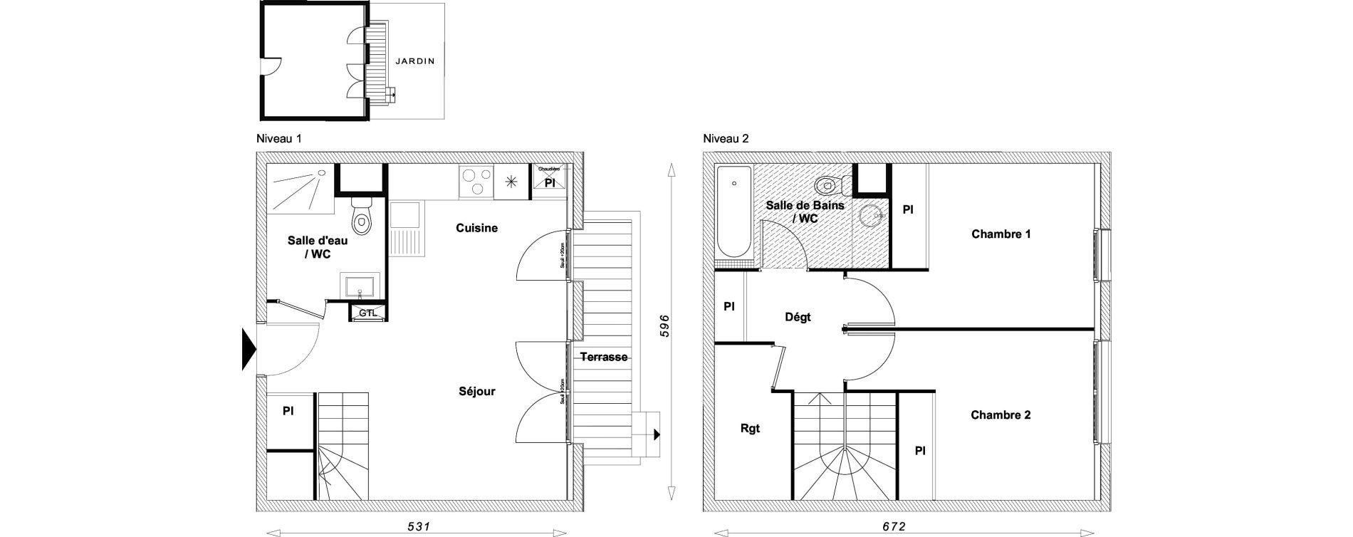 Duplex T3 de 63,21 m2 à Sucy-En-Brie Centre