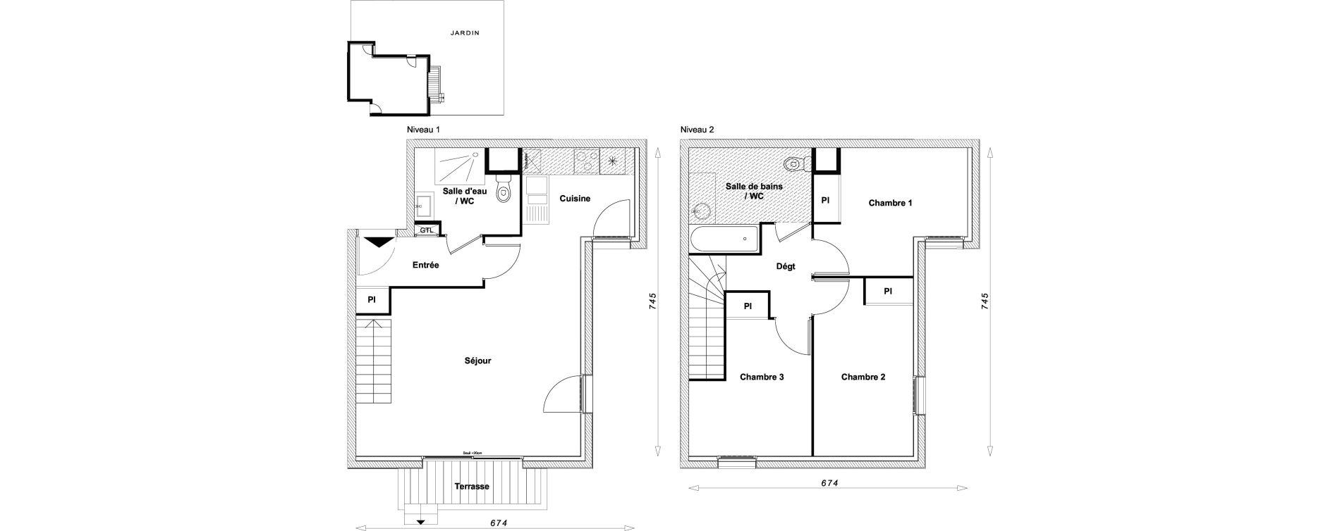 Duplex T4 de 75,88 m2 à Sucy-En-Brie Centre