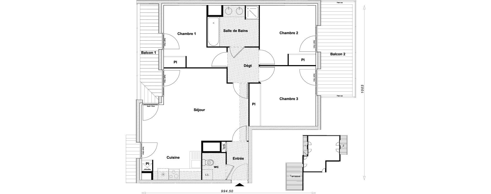 Appartement T4 de 77,43 m2 à Sucy-En-Brie Centre