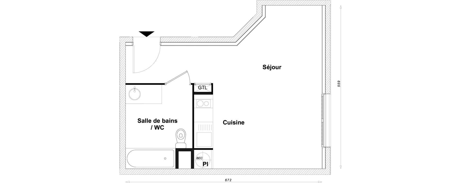 Appartement T1 bis de 30,66 m2 à Sucy-En-Brie Centre