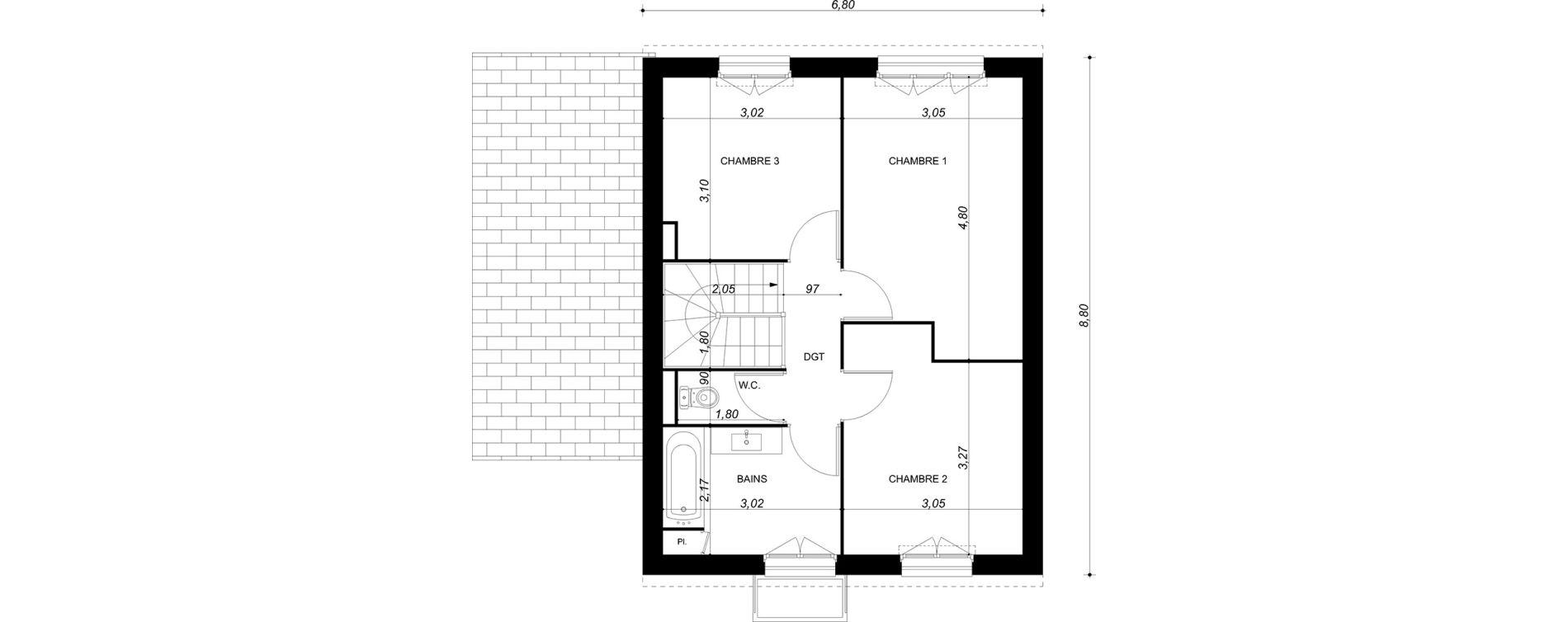 Maison T4 de 90,60 m2 à Bruyères-Sur-Oise Centre