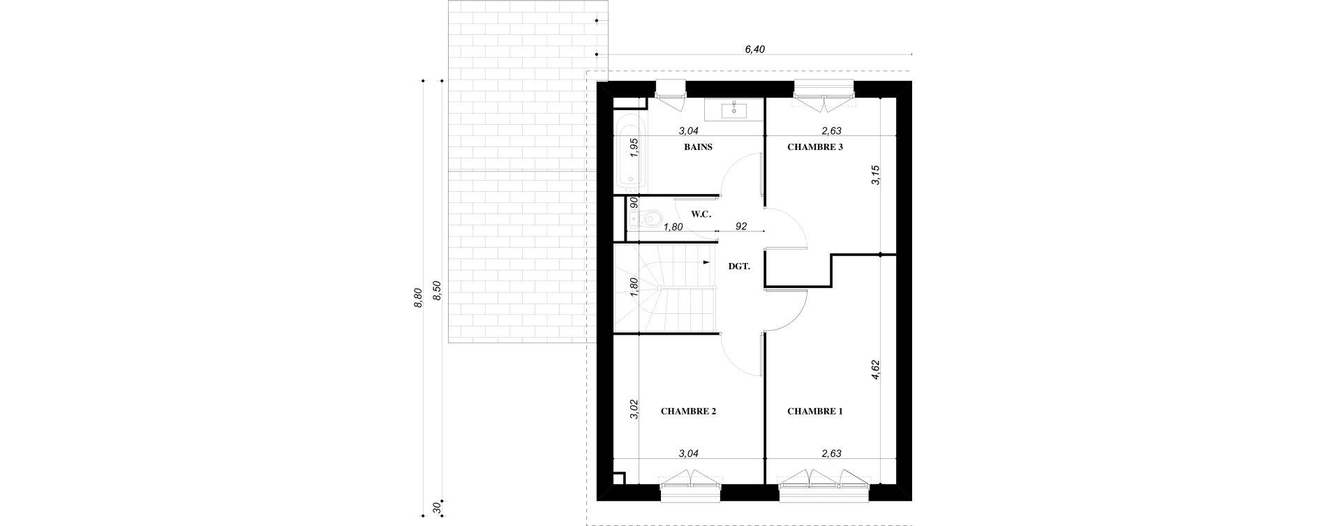 Maison T4 de 80,66 m2 à Bruyères-Sur-Oise Centre