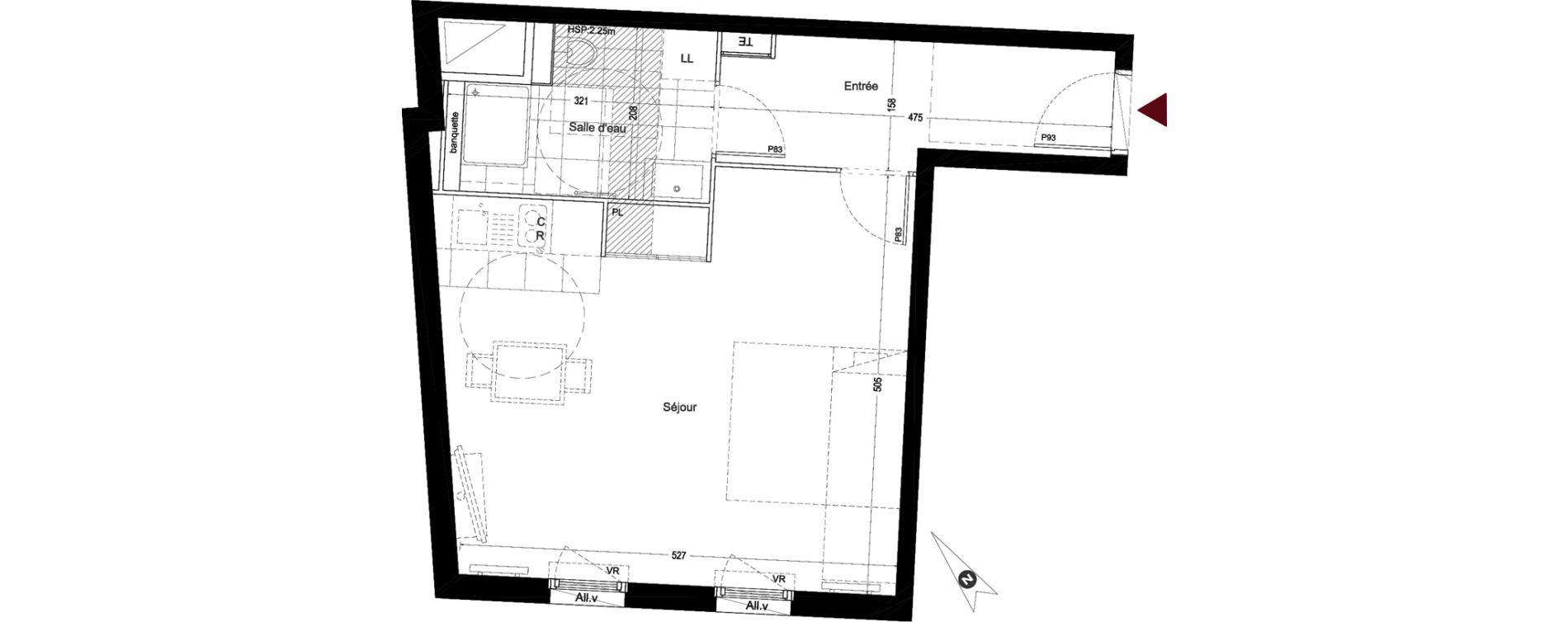 Appartement T1 de 38,75 m2 à Enghien-Les-Bains Centre