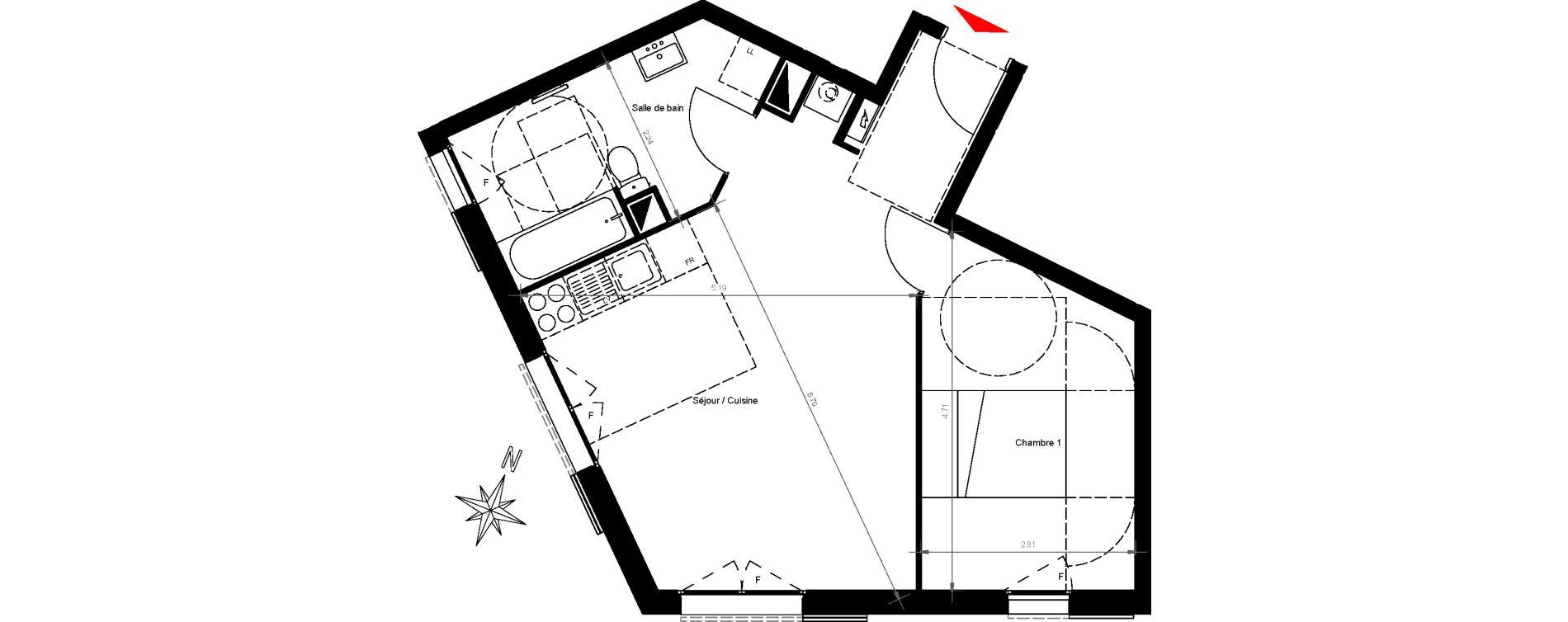 Appartement T2 de 46,45 m2 à Gonesse Centre